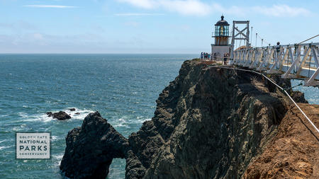 Point Bonita Lighthouse, walkway and ocean