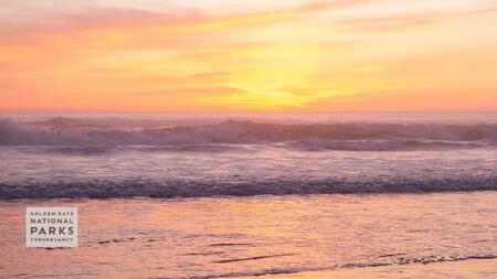 Ocean Beach waves during sunset