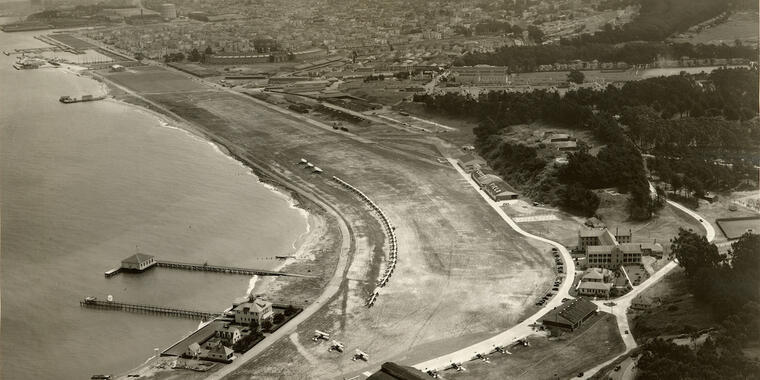 Historical aerial of Crissy Field during its years as a military airfield.