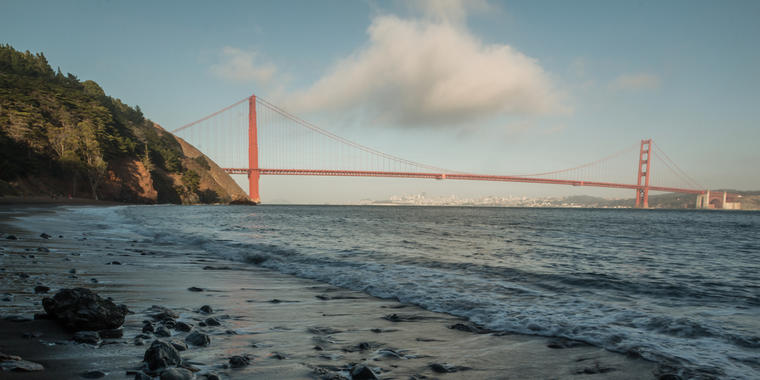 Cloud hovers over the Golden Gate Bridge