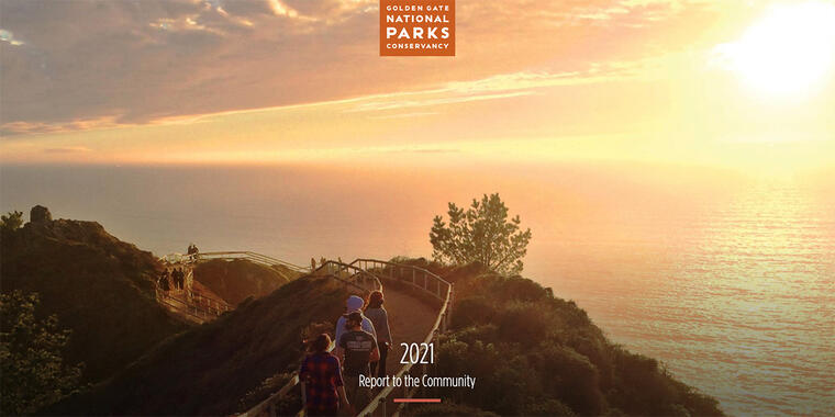 Muir Beach Overlook trail, cover of 2021 Annual Report