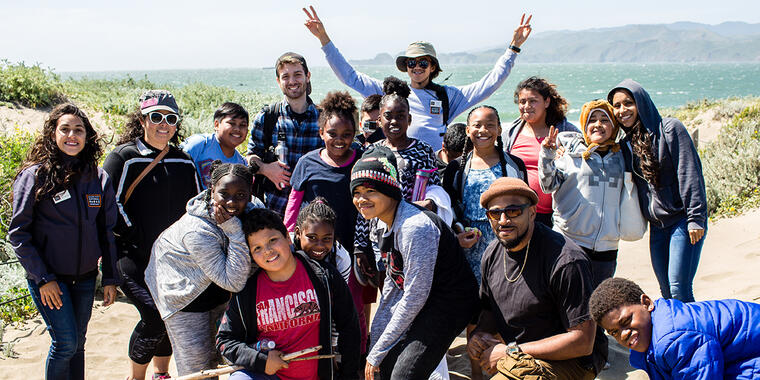 Parks Conservancy staff lead a Camping at the Presidio program