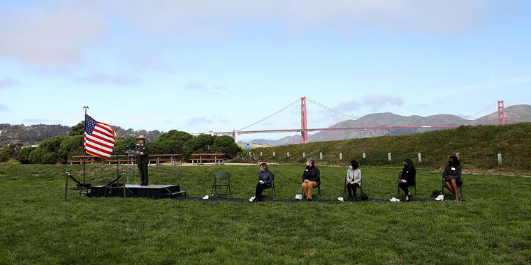Congresswoman Nancy Pelosi, Speaker of the House speaks during the National Park Service-Golden Gate National Recreation Area and the Golden Gate National Parks Conservancy commemoration of the 20th anniversary of the revitalization of Crissy Field on May