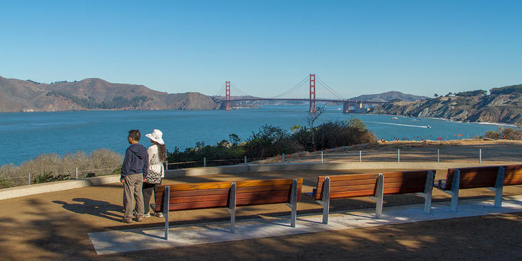 Lands End overlook with views of the Golden Gate Bridge.