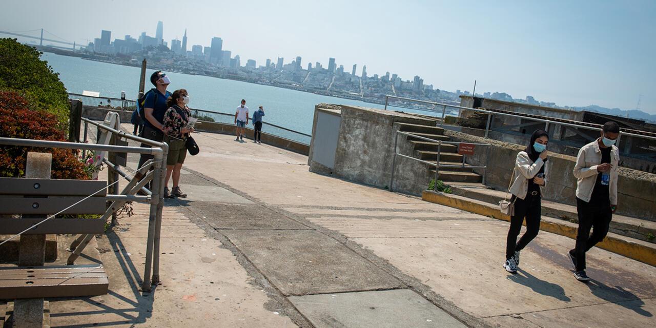 Visitors enjoy Alcatraz Island.