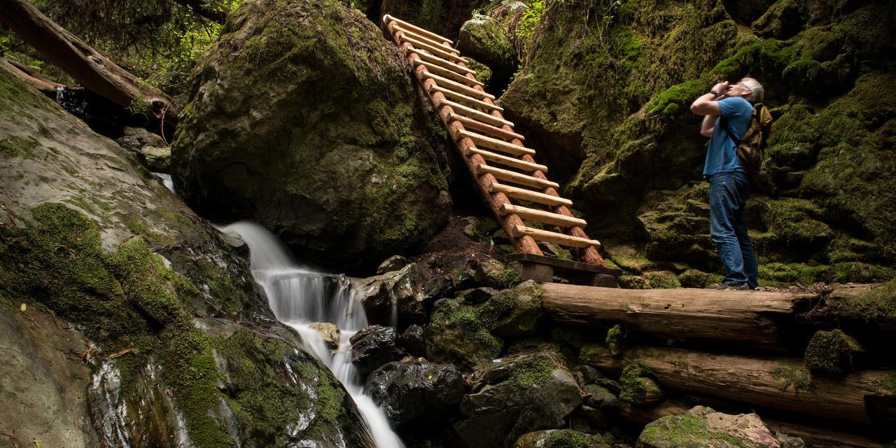 Photographer and Waterfall on Steep Ravine Trail