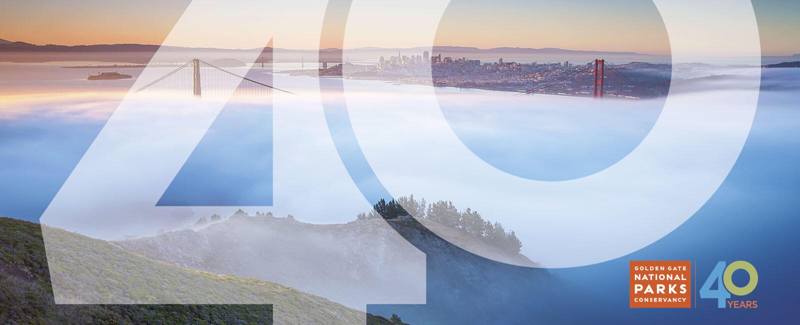 Golden Gate Bridge seen through the fog from the Marin Headlands.