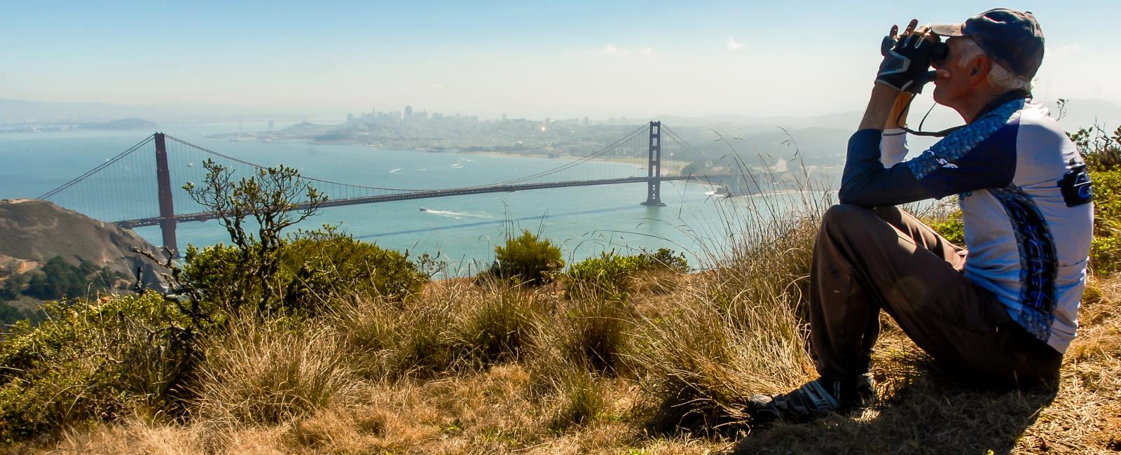 Observing raptors from the top of Hawk Hill