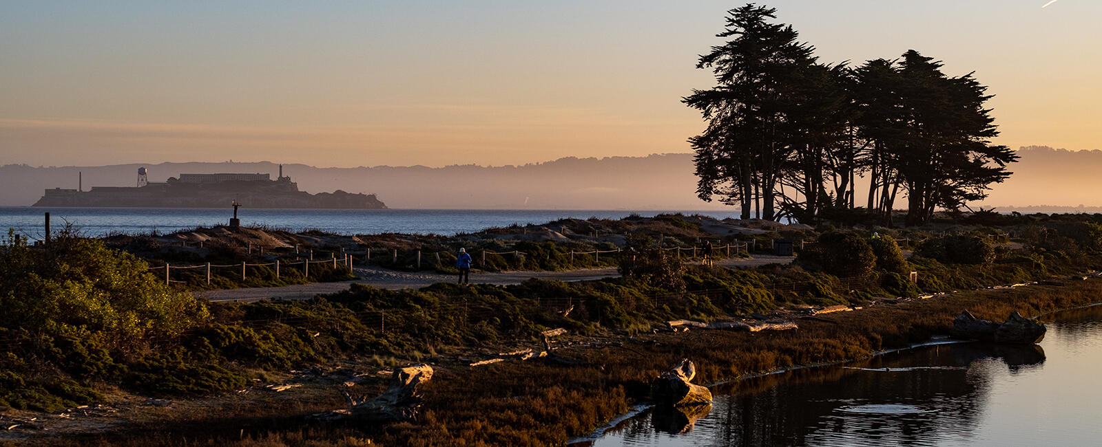 Crissy Field and Alcatraz seen at dawn.