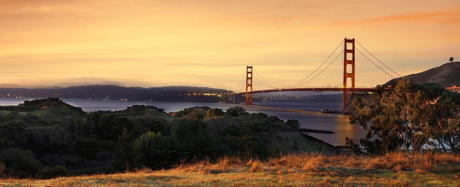 The Golden Gate Bridge seen from Fort Baker.