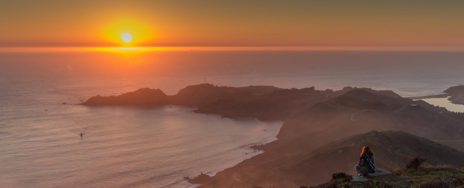Gazing at the sunset from the Marin Headlands