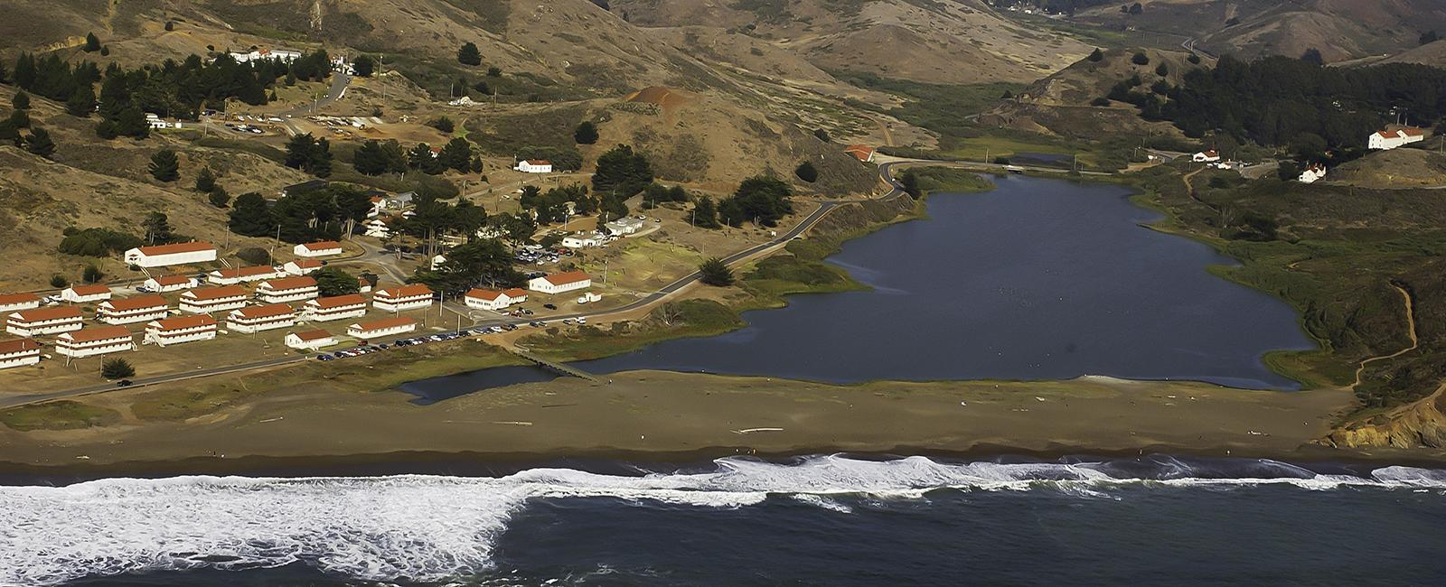 Aerial view of Rodeo Lagoon