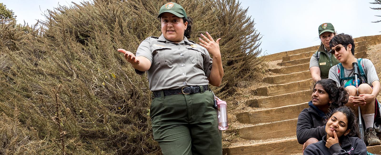 Ranger Maria Jose Alcantara speaks with youth