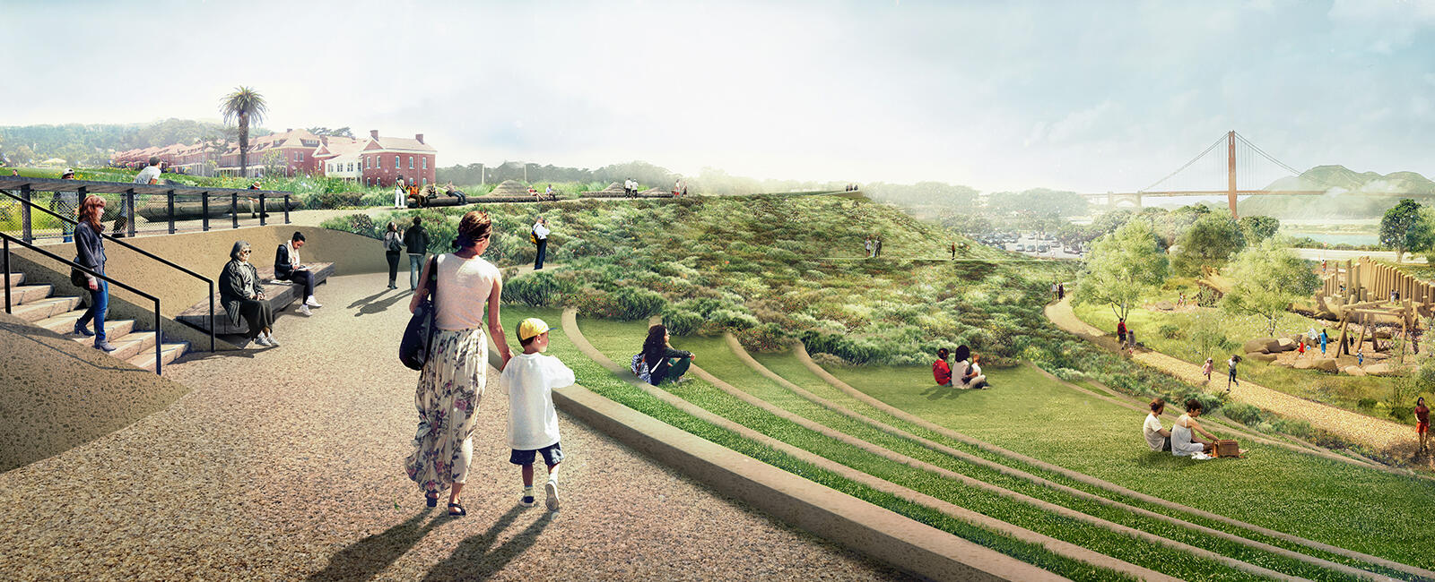 Rendering of steps and views at the Presidio Tunnel Tops