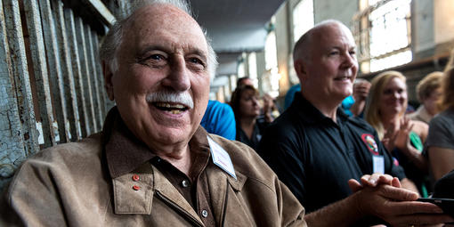 Former Alcatraz guard George DeVincenzi and other alumni participate in a reunion on the island in 2015.