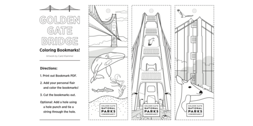 Golden Gate Bridge themed bookmarks that you can download and color.