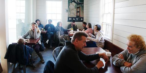 Visitors at the Warming Hut Cafe