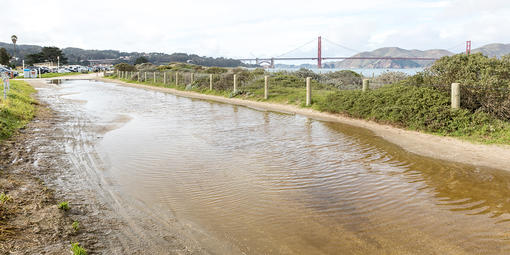 Water pooling on path along East Beach near Crissy Field Center