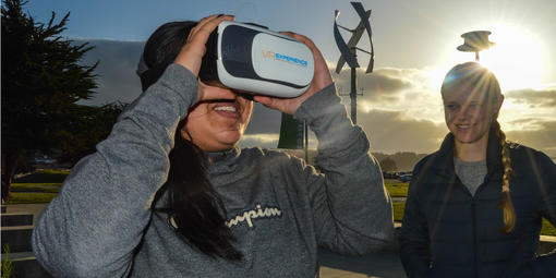 YAC members try virtual reality in the outdoors