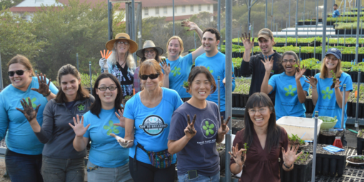 A large group smiles and holds up dirty hand while working in the nursery.
