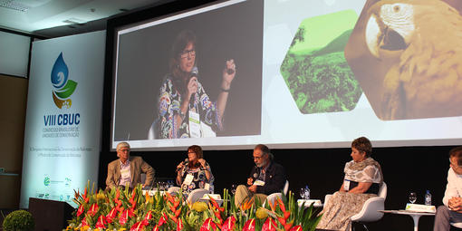 Parks Conservancy Director Sue Gardner presents at a plenary session of the Eighth Brazilian Congress on Protected Areas