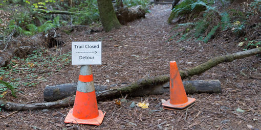Muir Woods trail closure signage
