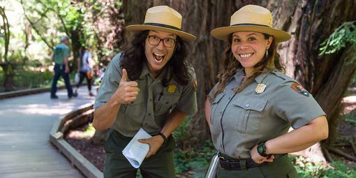 Park Rangers Takeo Kishi, left, and Jasmine Reinhardt at Muir Woods.