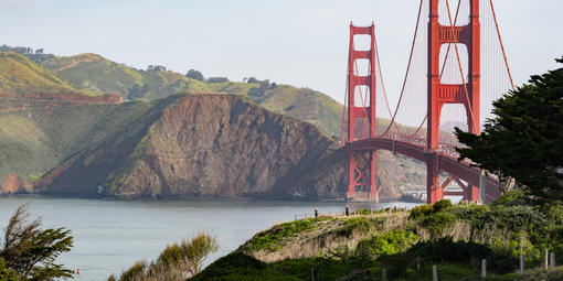 The Golden Gate Bridge along the Presidio
