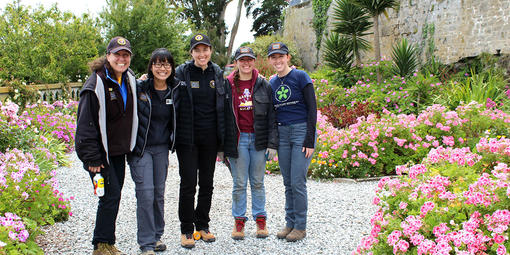 Interns explore the gardens of Alcatraz