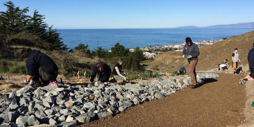A small group of people focus on individual tasks while working outside on a trail overlook a body of water