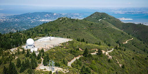 Aerial view of the former Mill Valley Air Force Station atop West Peak