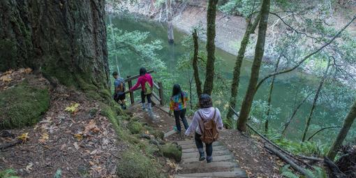 Visitors explore the Cataract Trail