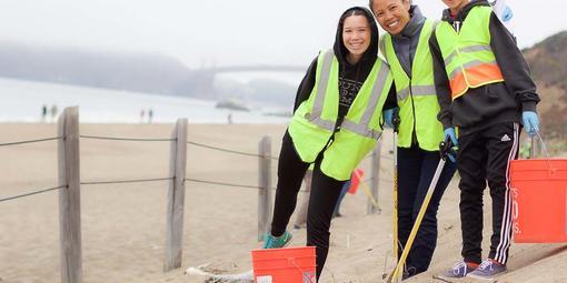Volunteers at Baker Beach