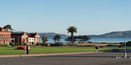 Image of the Presidio Main Post Parade Ground with the Bay in the distance