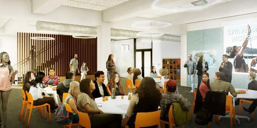 Rendering of the renovated Crissy Field Center interior youth space at Presidio Tunnel Tops