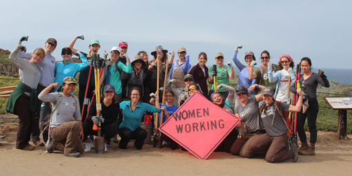 Women's Trail Day volunteers at a past event in the Golden Gate National Parks.