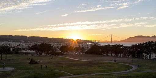 Fort Mason's Great Meadow during a sunset