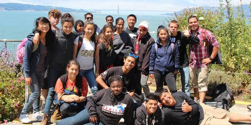 LINC program participants explore Alcatraz Island.