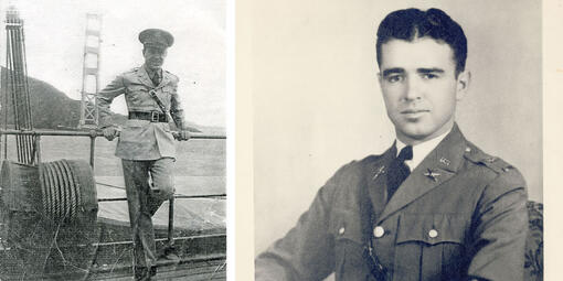 Lt. Col. Lewis Spencer Kirkpatrick standing in front of unfinished Golden Gate Bridge in 1935.
