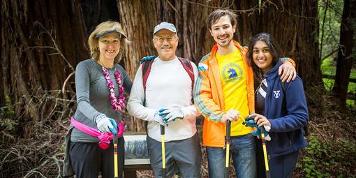 Volunteers take a break in Muir Woods