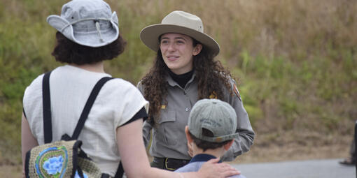 Park Ranger Lara Volski helps visitors.
