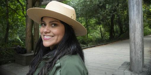Park Ranger Giessell Aguilar at Muir Woods.