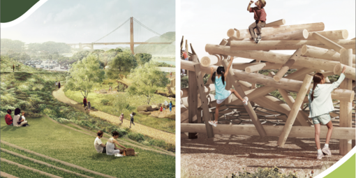 A graphic of children playing outside. The Golden Gate Bridge is visible in the background.