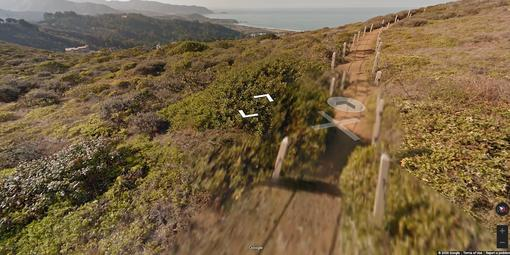 Screenshot of Google Street View on a shrubbed hillside in Milagra Ridge