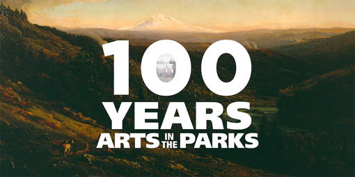 "Video screenshot showing a landscape painting overlayed with the series title, ""100 Years of Arts in the Parks"""
