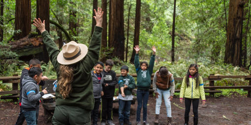 Muir Woods with ranger and kids