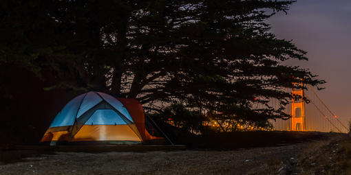Tent aglow at Kirby Cove Campground