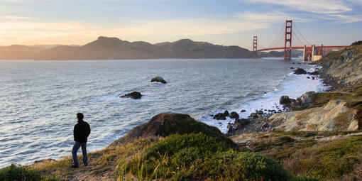 Sweeping views of the Pacific Ocean and the Golden Gate, rugged cliffs, and an astonishing array of plant and animal life await visitors to the Presidio's western shoreline.