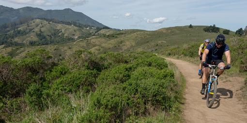 Cyclists power forward along the Miwok Trail