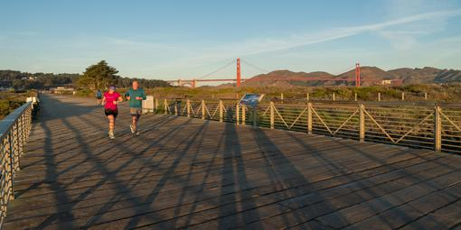 Joggers enjoy the Crissy Field Promenade